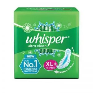 Whisper Ultra Clean Sanitary Pads - XL+ Plus (15 Pads)